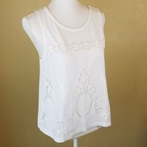 2/$25 Express White Boho Lace Tank Top MD